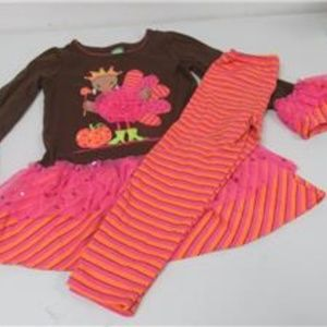 DOLLY & ME Thanksgiving 2Pc Outfit Size 6 EUC